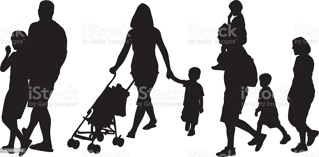 Parents walking with their child vector art illustration