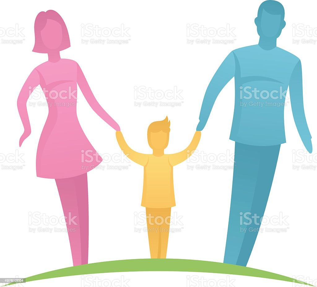 Parents with child vector art illustration
