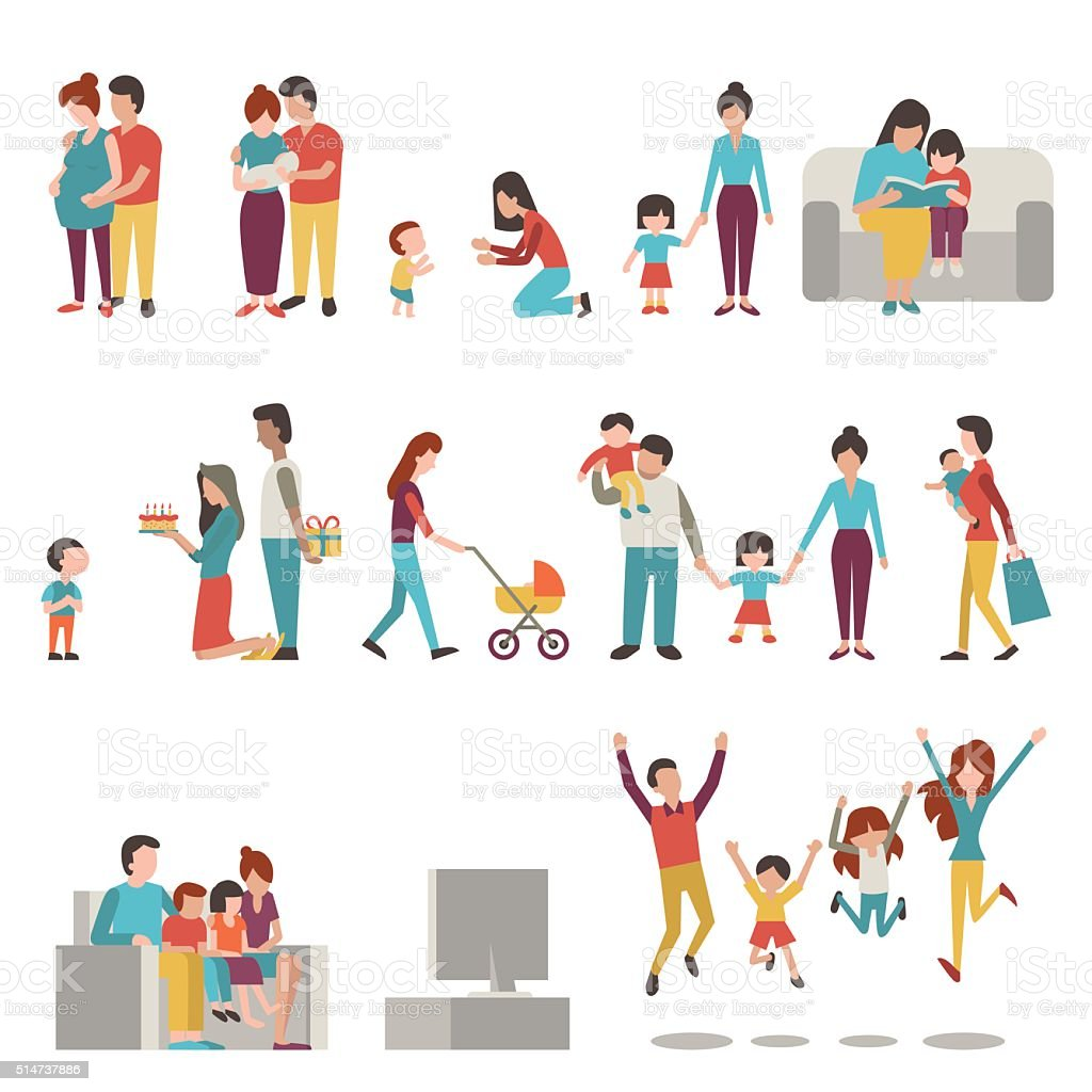 Parents with kids vector art illustration
