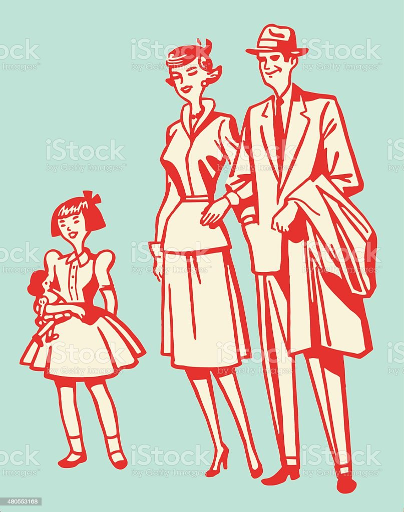 Parents With Little Girl vector art illustration