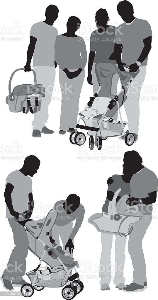 Parents with their children in stroller royalty-free stock vector art