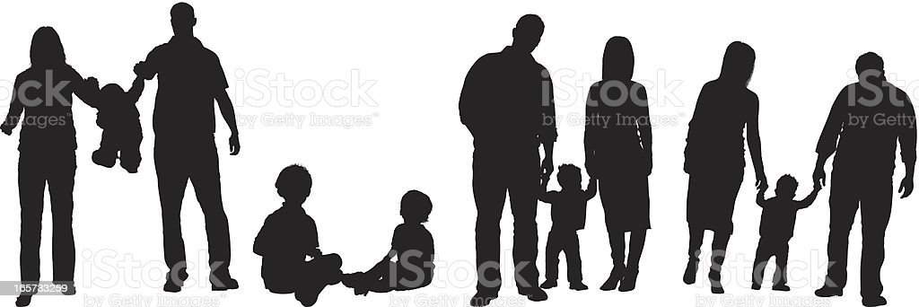 Parents with their children royalty-free stock vector art