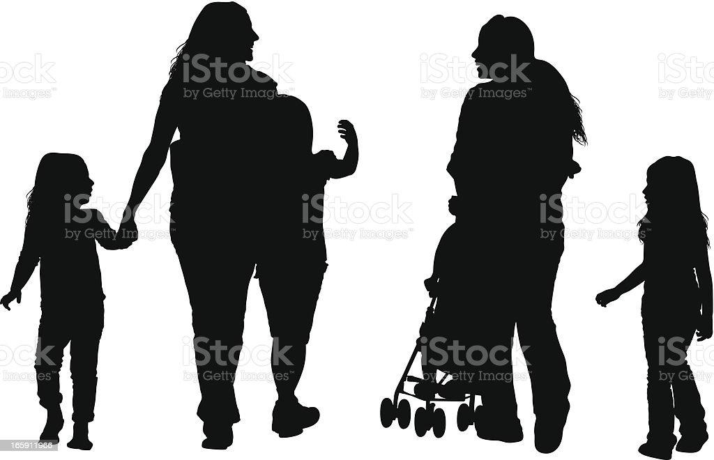 Parents with their children vector art illustration