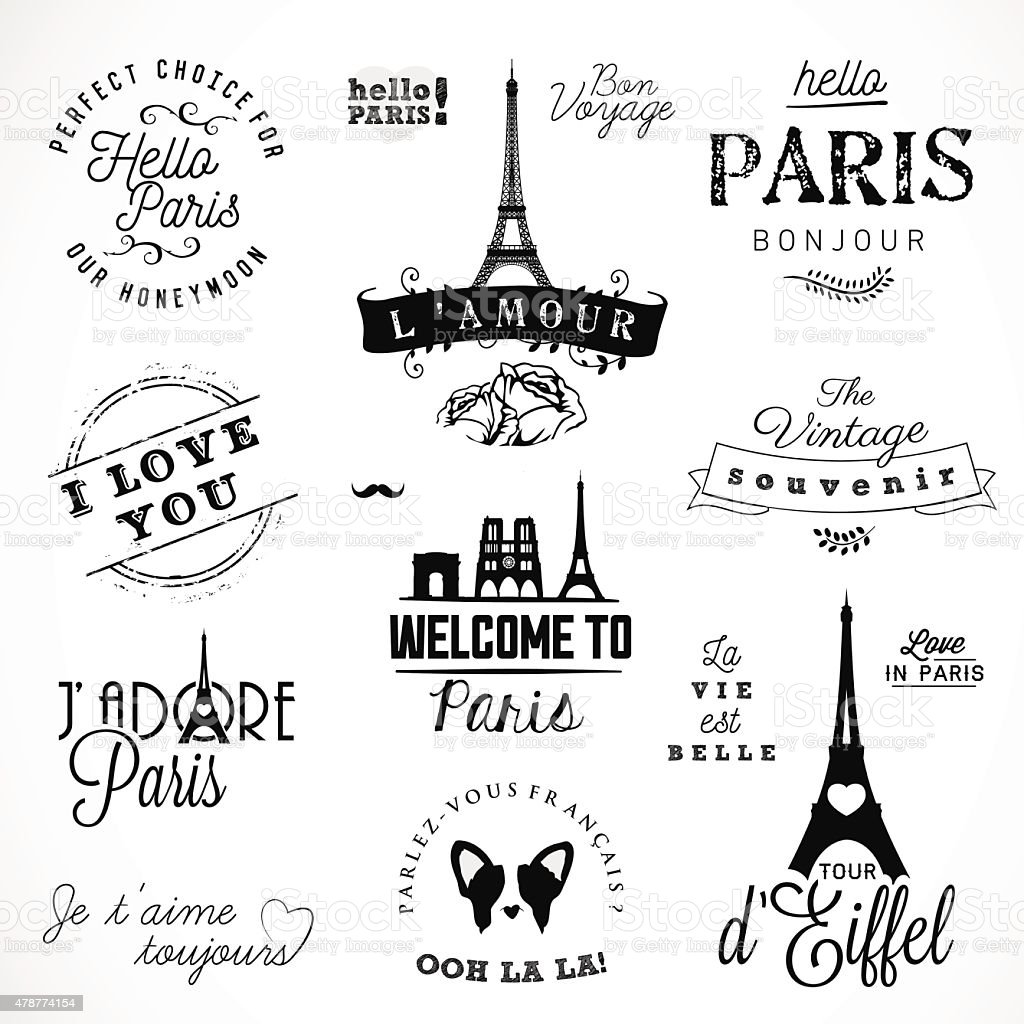 Paris Badges and Labels in Vintage Style vector art illustration