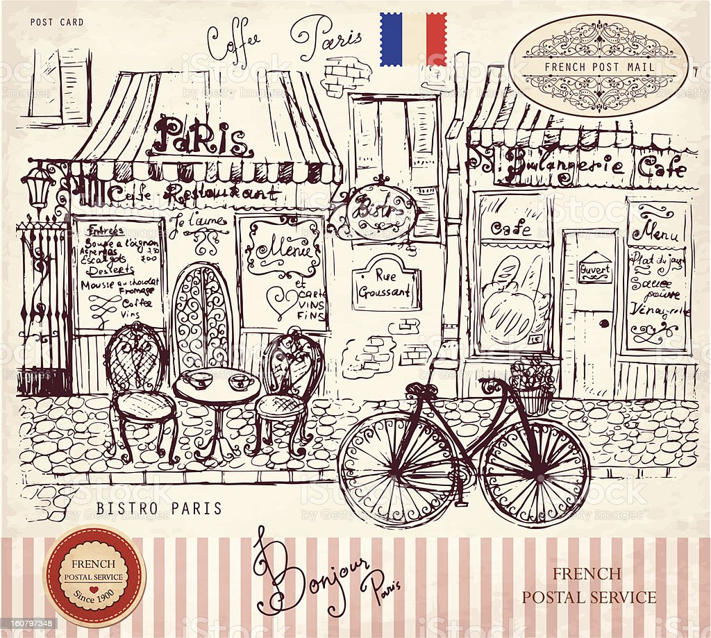 Paris bistro vector art illustration