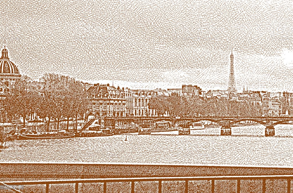Paris Bridge and Eiffel Tower royalty-free stock vector art