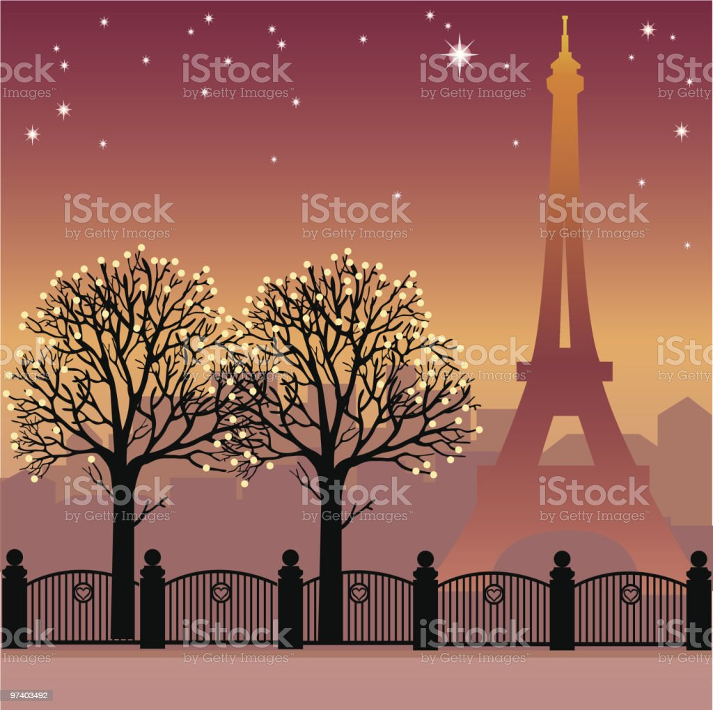 Paris by night vector art illustration