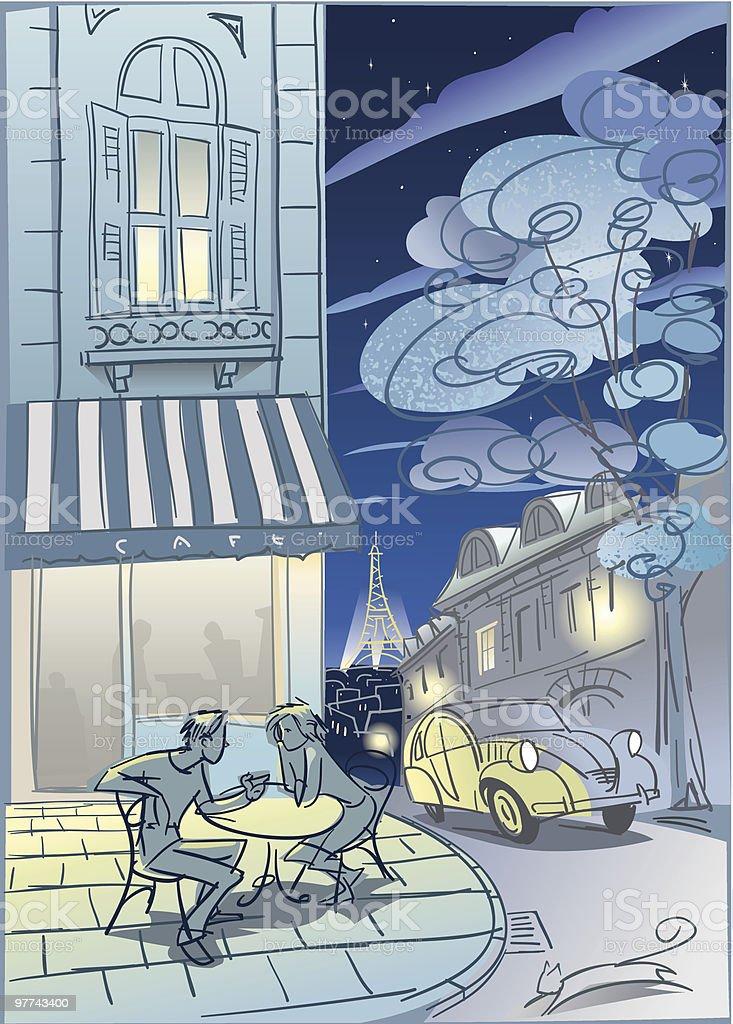 Paris Cafe at night vector art illustration