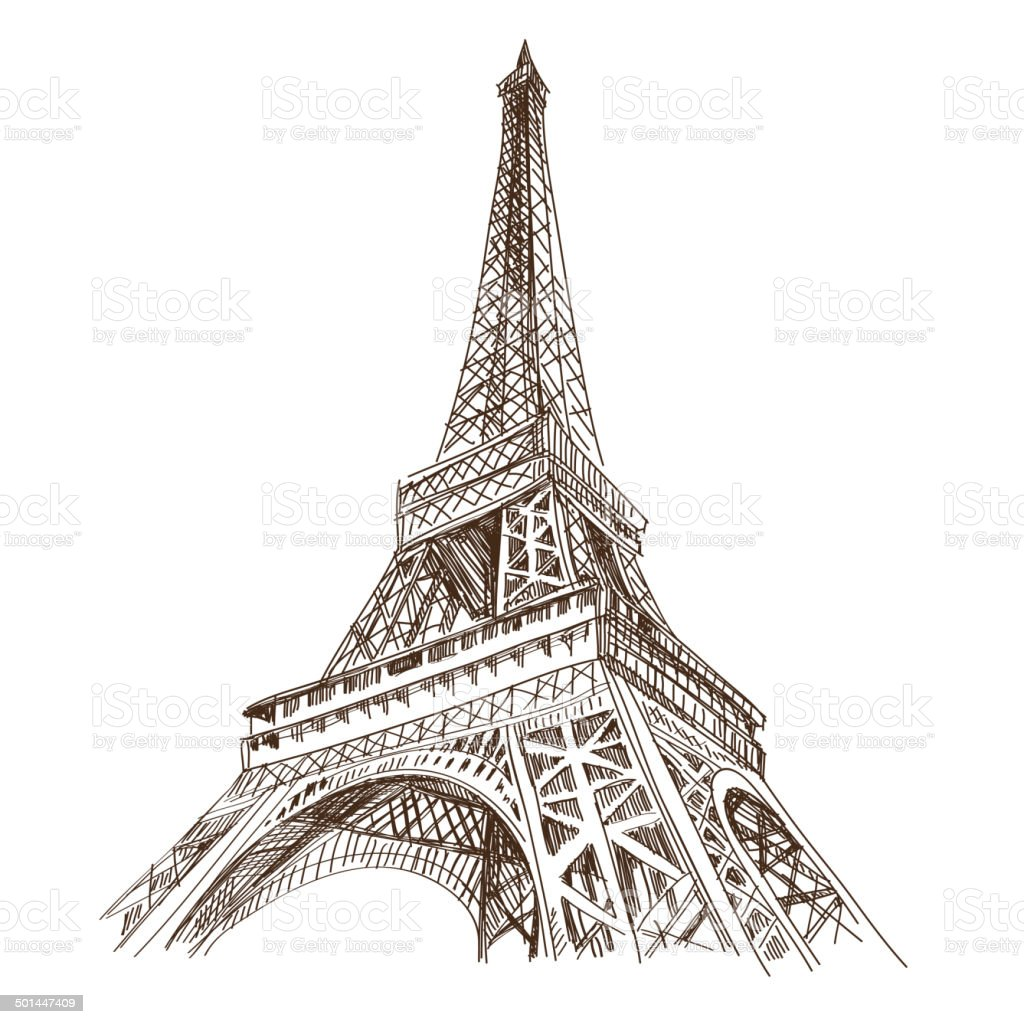 Paris city hand drawn, vector illustration vector art illustration