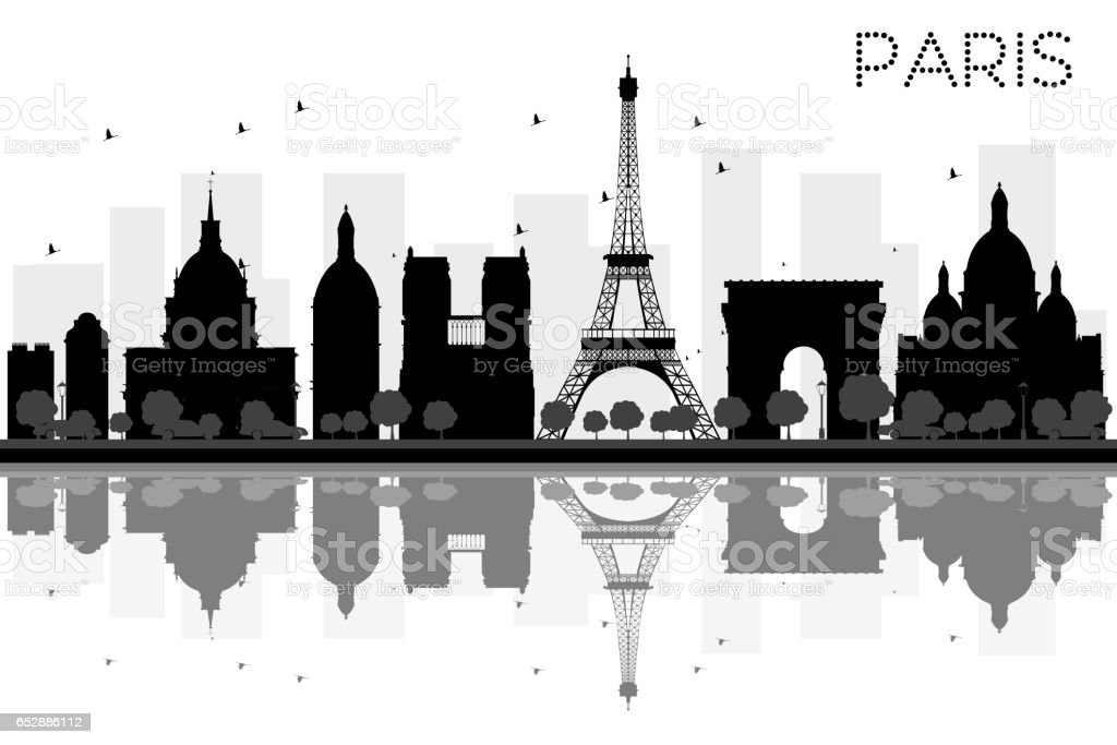 Paris City skyline black and white silhouette with reflections. vector art illustration