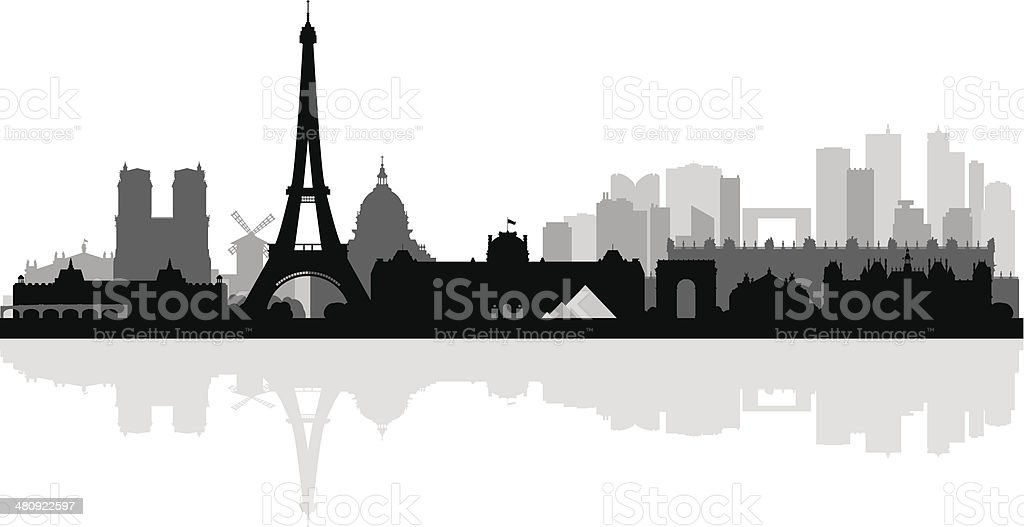 Paris city skyline silhouette background vector art illustration