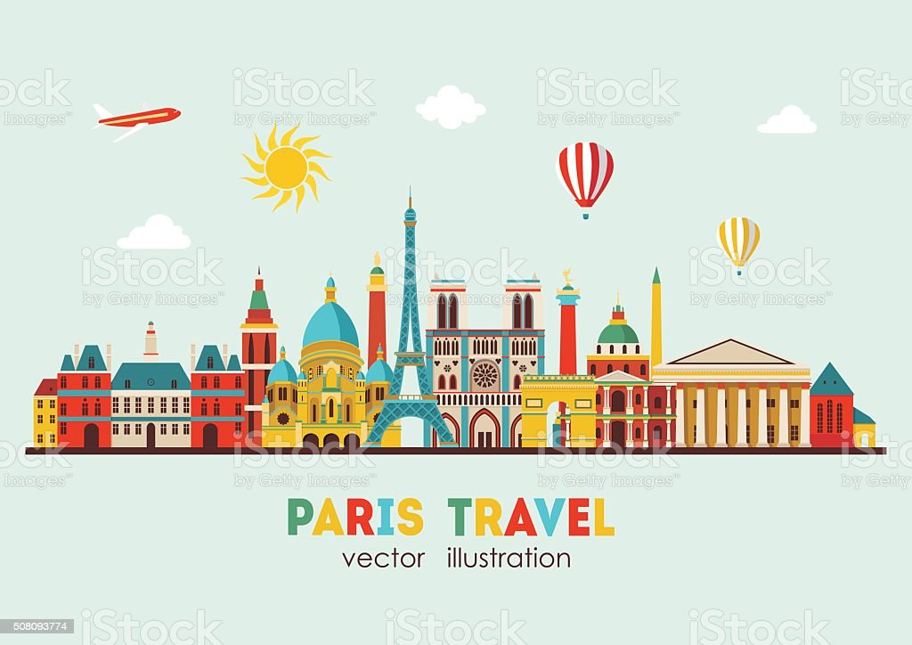 Paris detailed skyline. Vector illustration vector art illustration