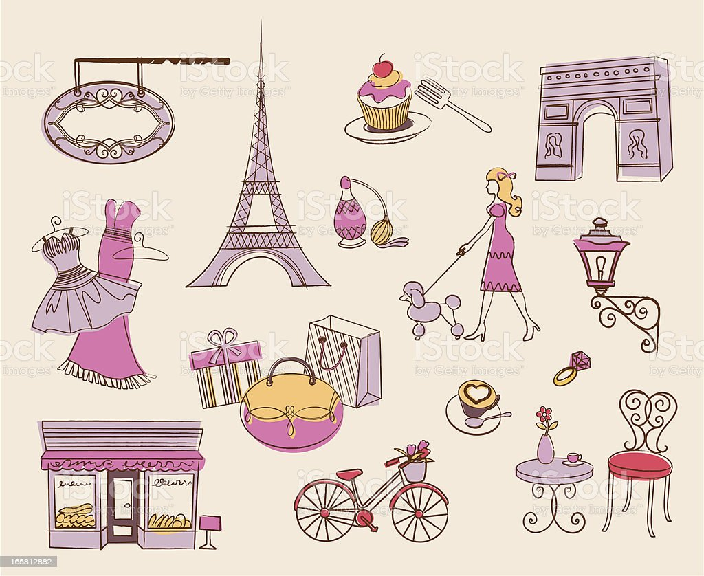 paris element design vector art illustration