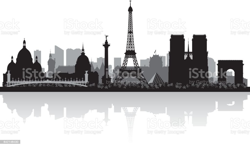 Paris France city skyline silhouette vector art illustration