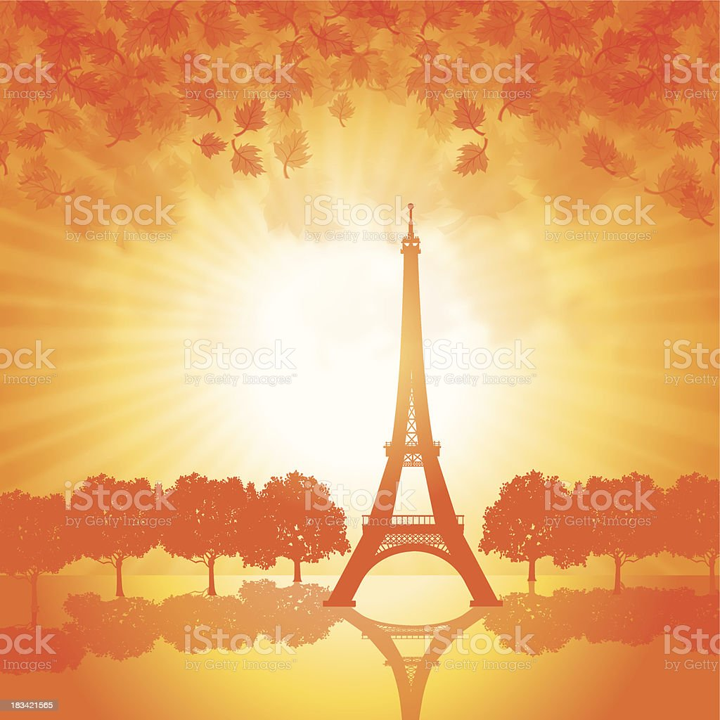 Paris France - Eiffel Tower in Autumn Background royalty-free stock vector art