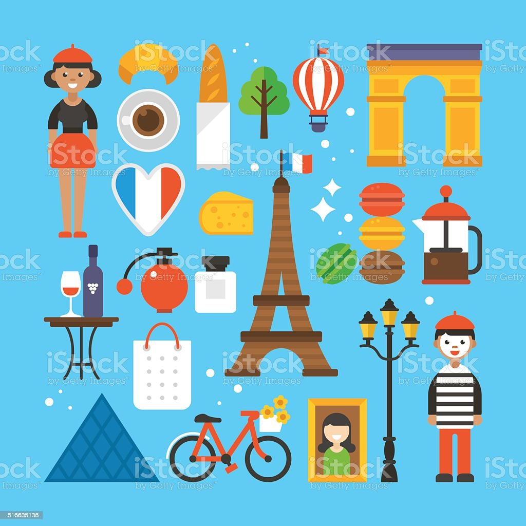 Paris, France flat elements for web graphics and design. vector art illustration