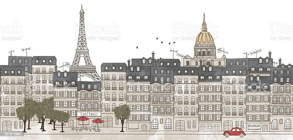 Paris, France - seamless banner of Paris's skyline vector art illustration