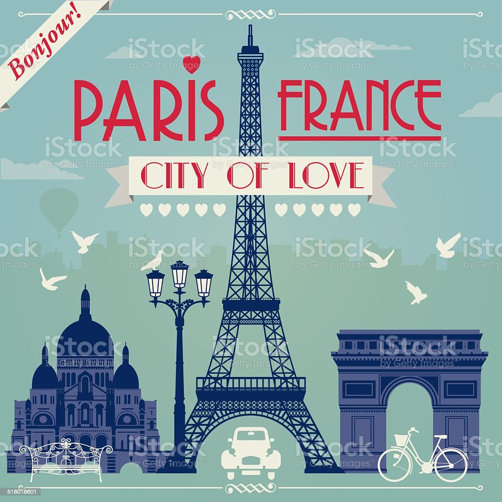 Paris France vector art illustration