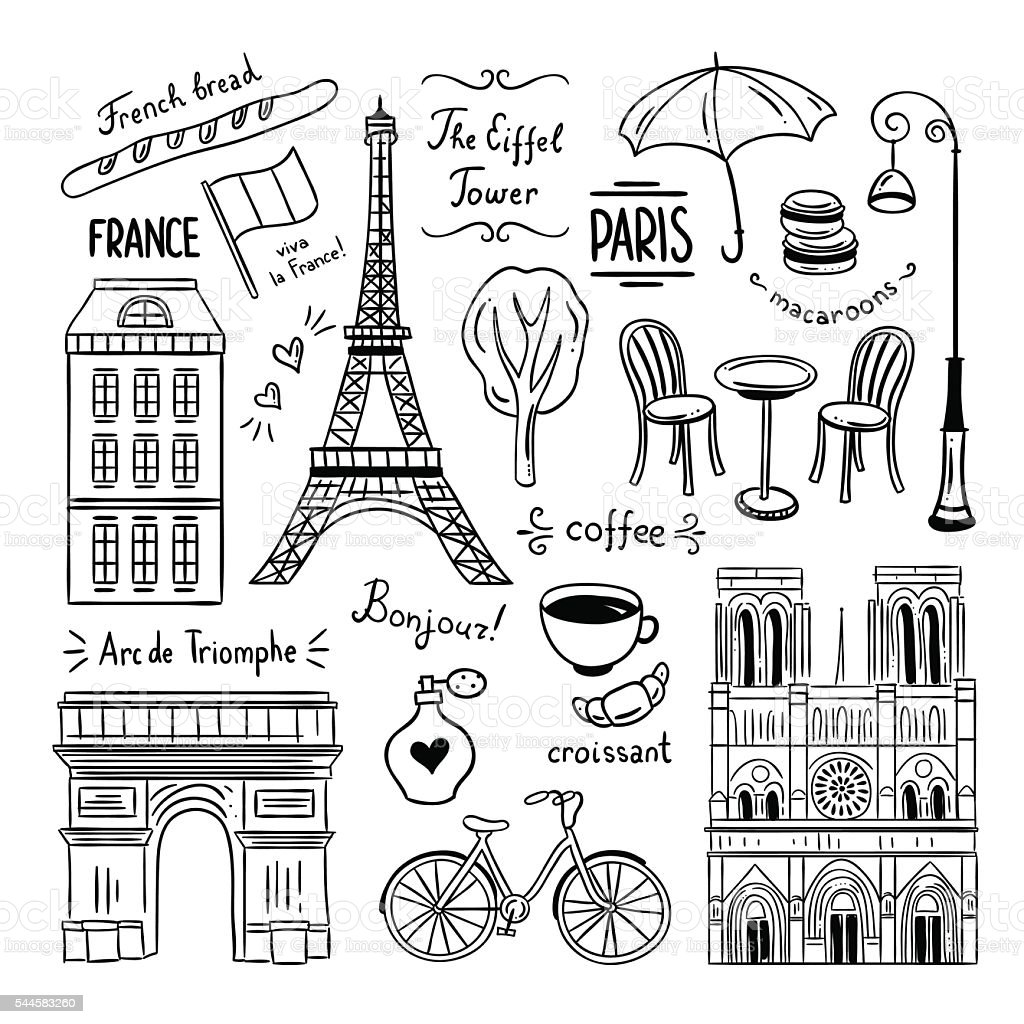 Paris hand drawn clipart. Illustrations of France and Paris vector art illustration