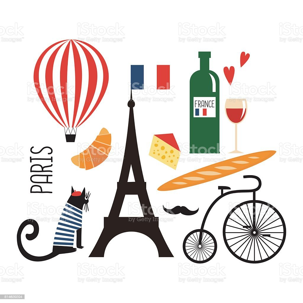 Paris illustration. Set of french symbols on white background. vector art illustration