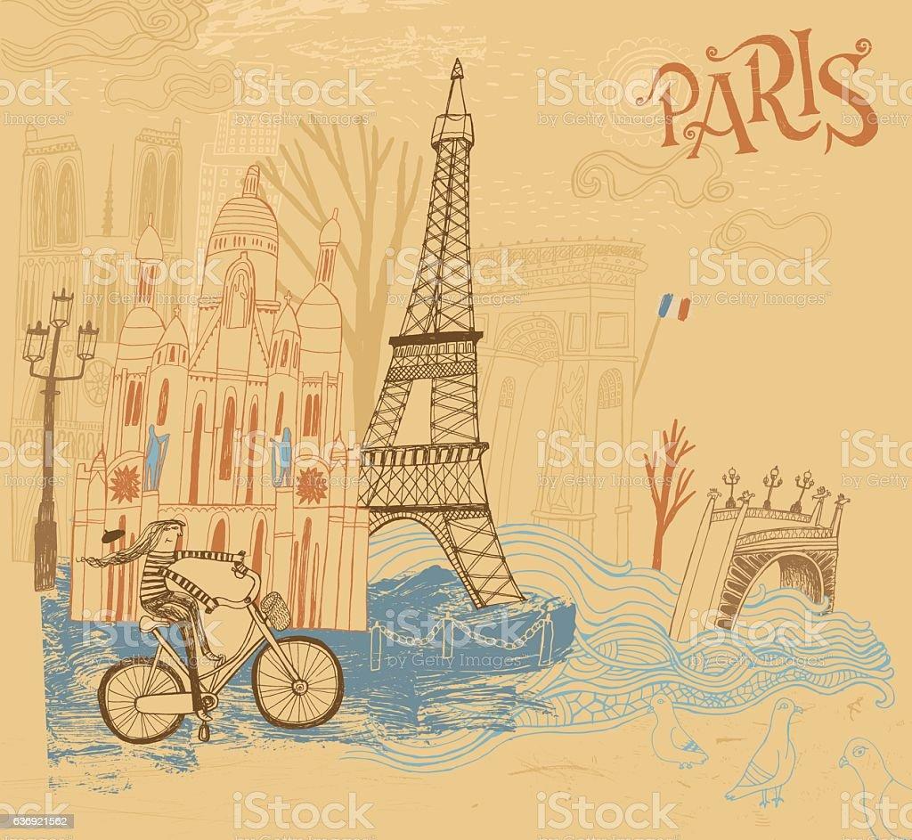 Paris in France illustration vector art illustration