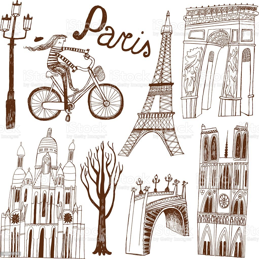 Paris in France monuments: Eiffel Tower, Arc de Triomphe vector art illustration