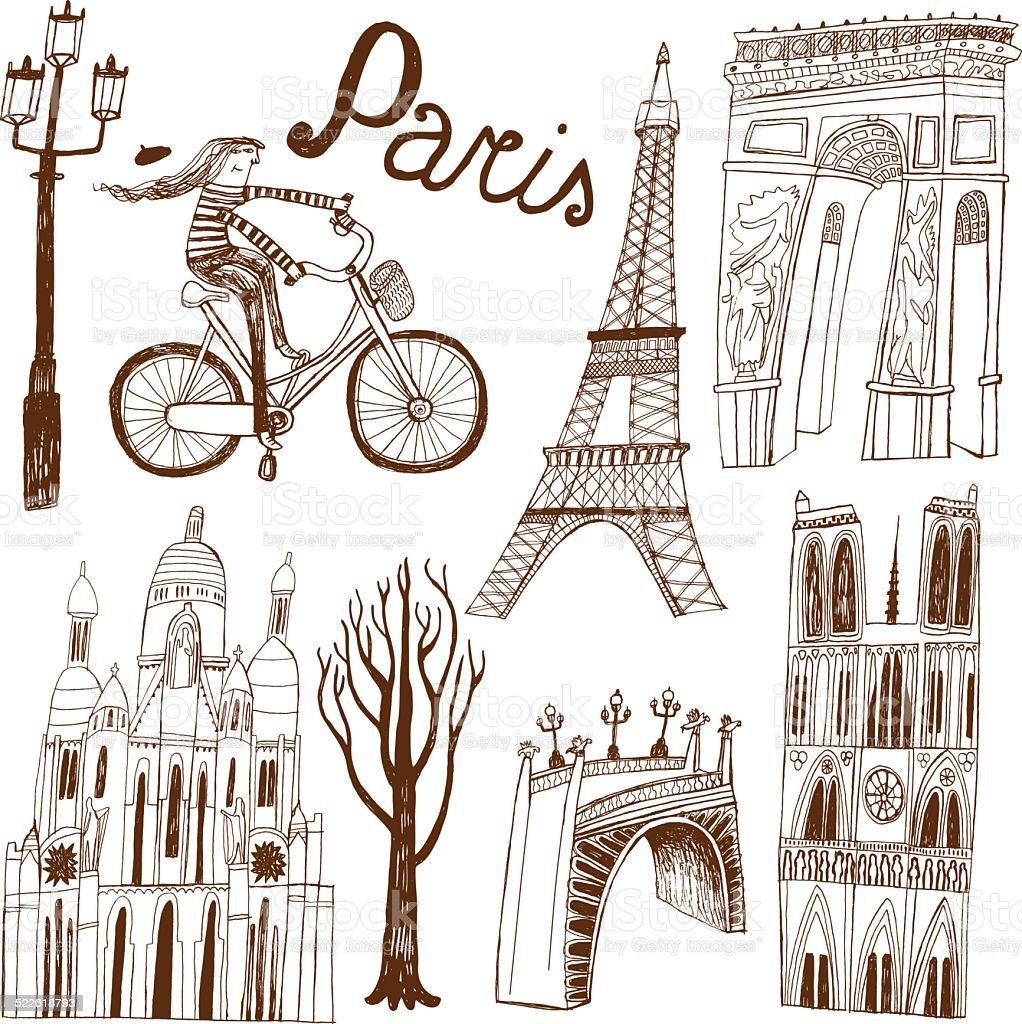 Paris in France monuments: Eiffel Tower, Arc de Triomphe vector art illustration