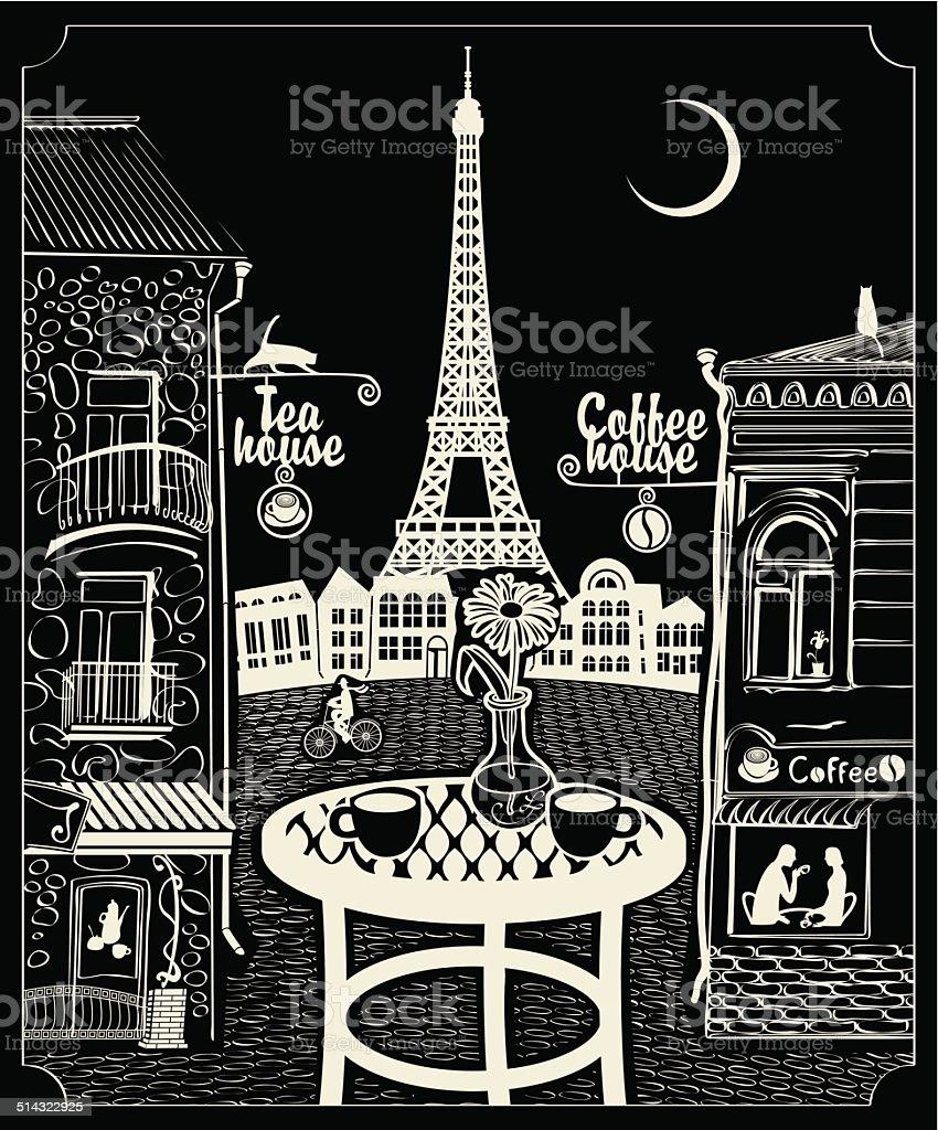 Paris night cafe vector art illustration