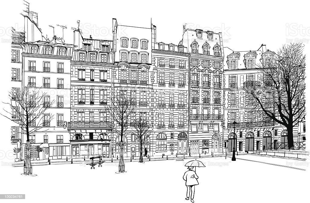 Paris - Place Dauphine royalty-free stock vector art