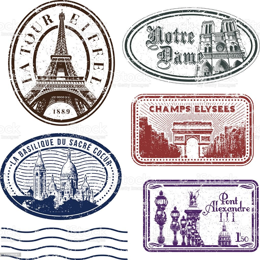Paris rubber stamps royalty-free stock vector art