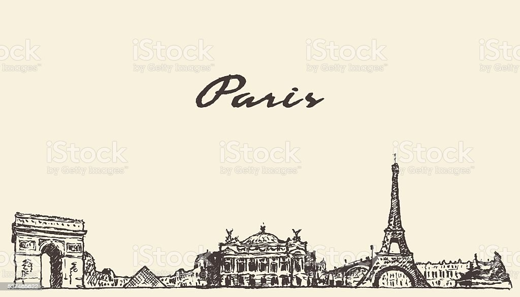 Paris skyline France illustration hand drawn vector art illustration