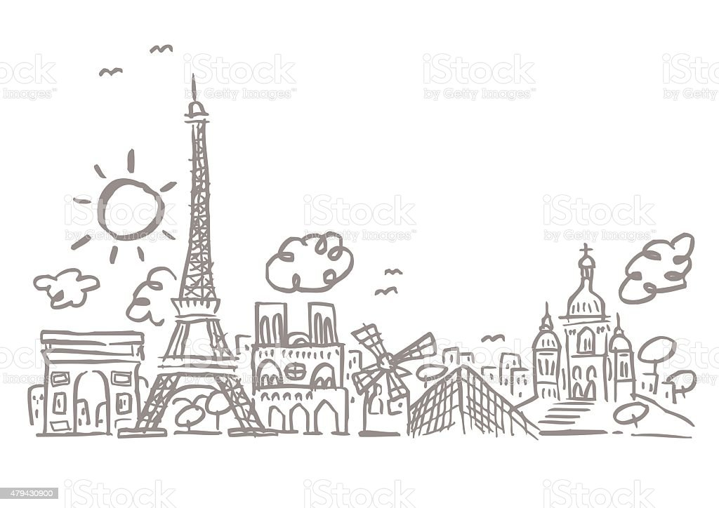 Paris skyline vector art illustration