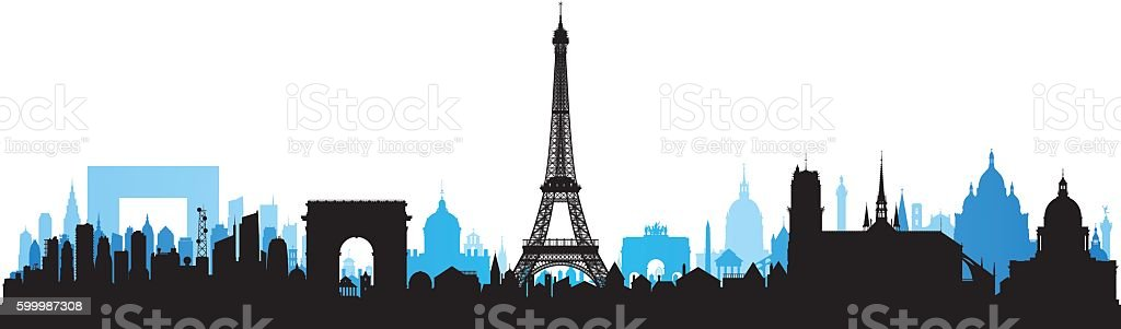 Paris Skyline (Each Building is Moveable and Complete) vector art illustration