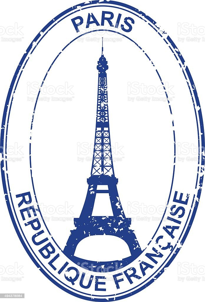 Paris Stamp vector art illustration