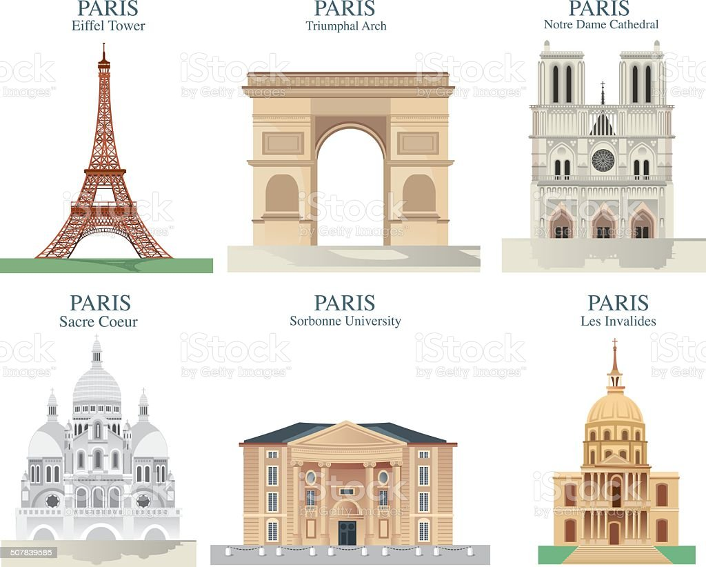 Paris Symbols vector art illustration