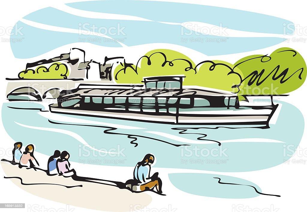 Paris tourist ship, Bateau-Mouche royalty-free stock vector art