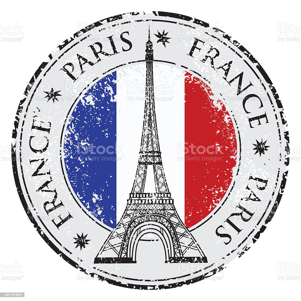 Paris town in France grunge stamp, eiffel tower vector vector art illustration