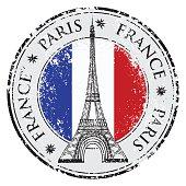 Paris town in France grunge stamp, eiffel tower vector