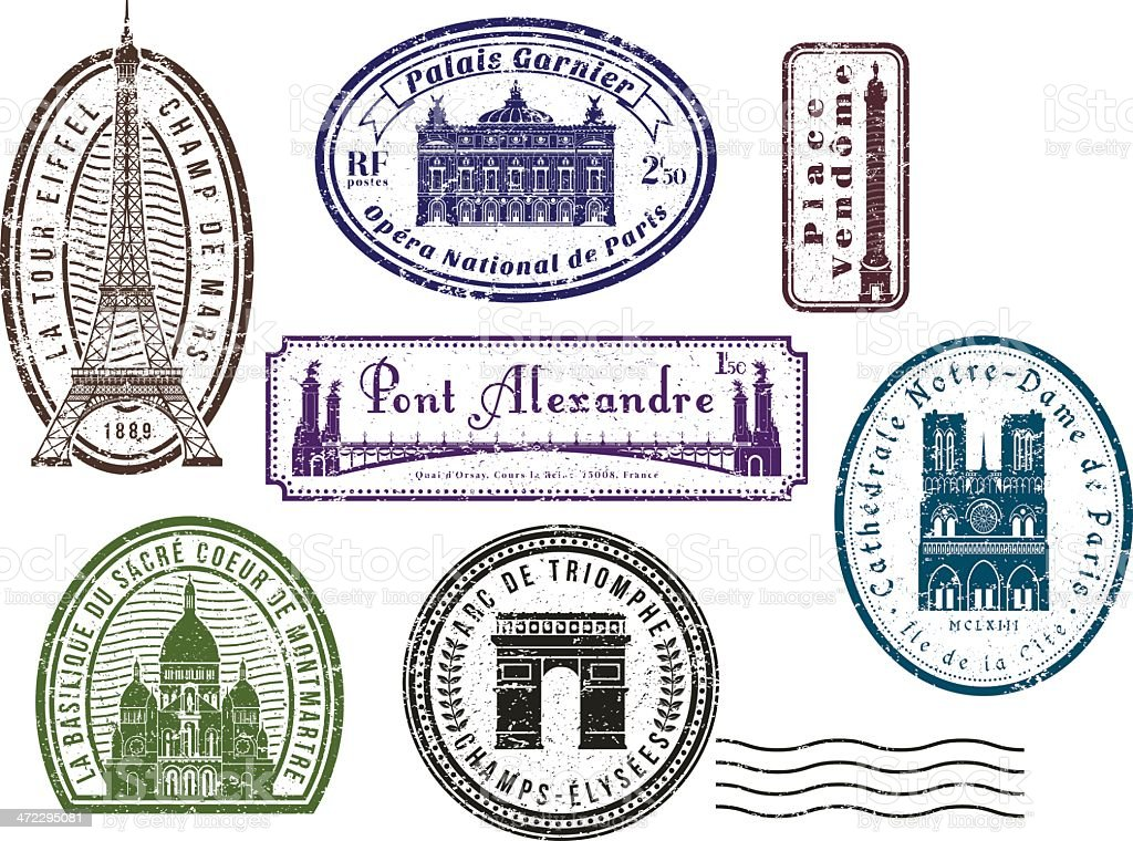 Paris travel rubber stamps royalty-free stock vector art