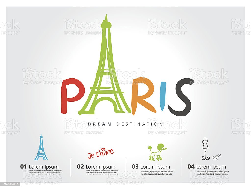 Paris travel set, France, Eiffel tower, typography vector art illustration