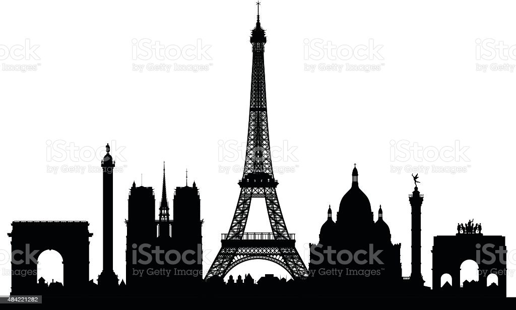 Paris (Buildings Are Detailed, Moveable and Complete) vector art illustration