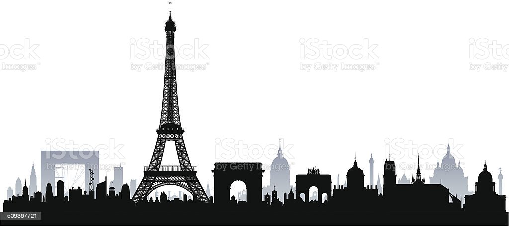 Paris (Complete, Separate, Detailed Buildings) vector art illustration