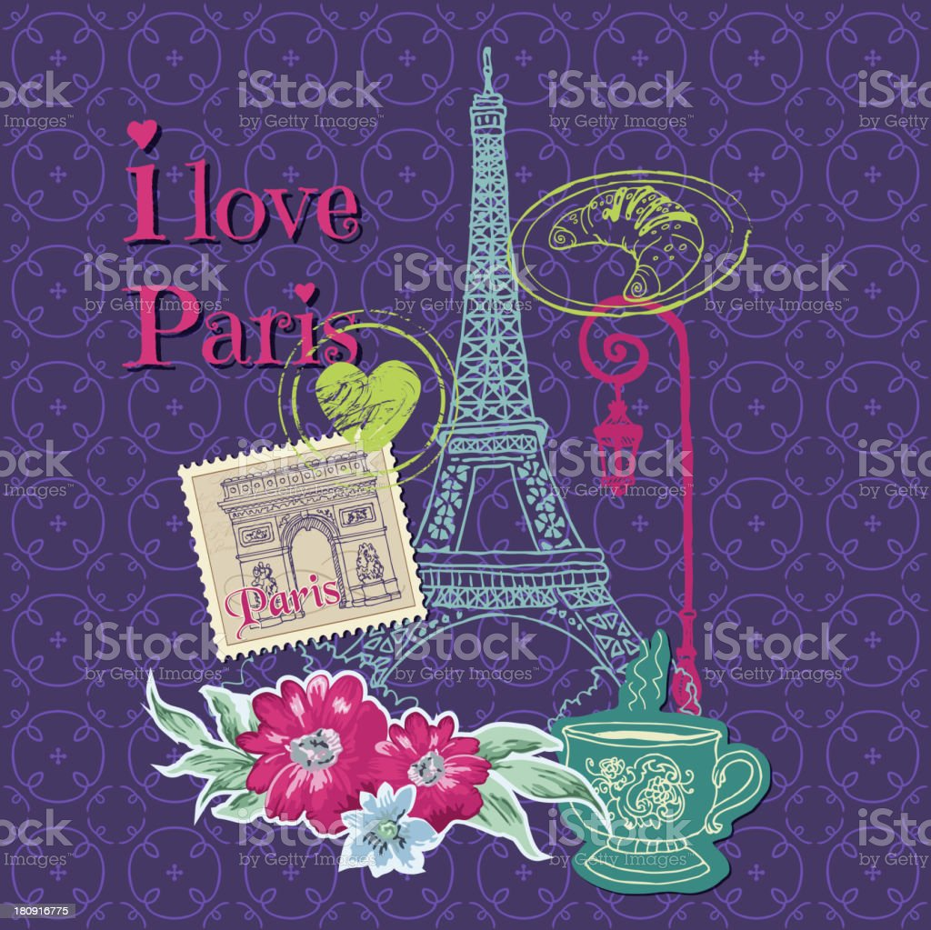 Paris Vintage Card with Stamps royalty-free stock vector art