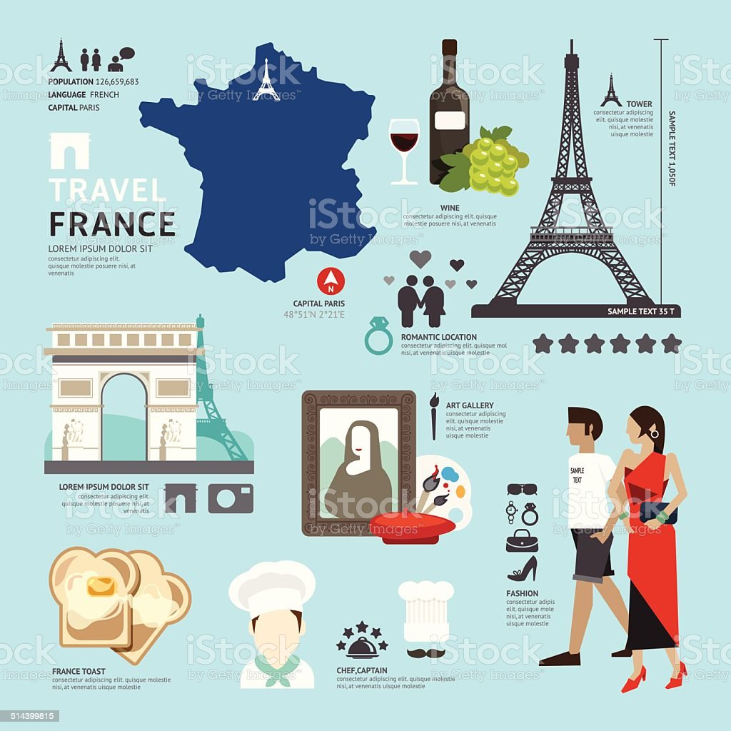 Paris,France Flat Icons Design Travel Concept.Vector vector art illustration