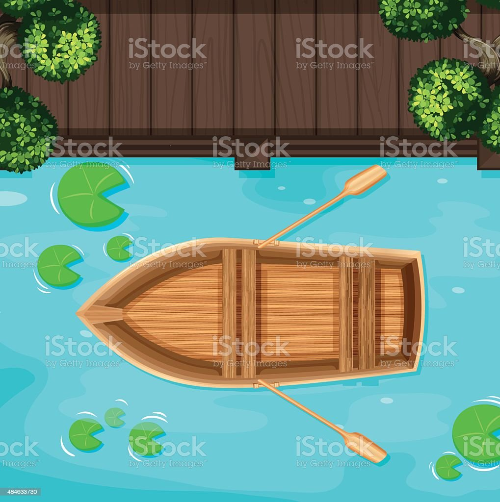 Park and boat vector art illustration