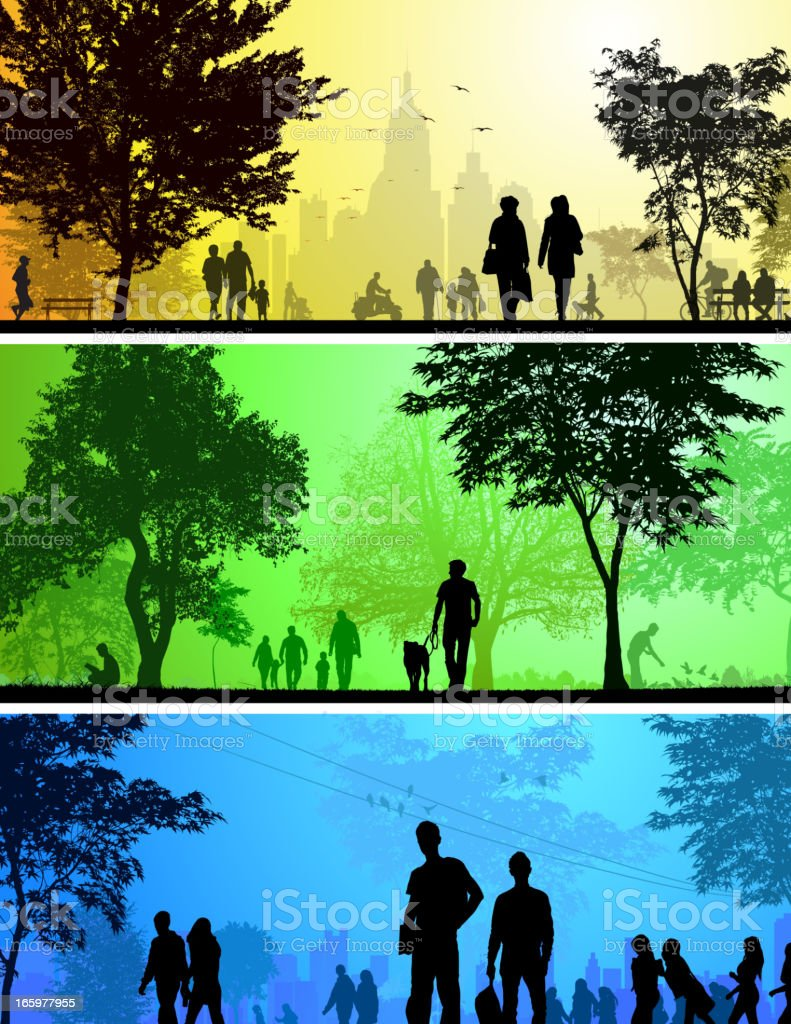 Park and City silhouettes vector art illustration