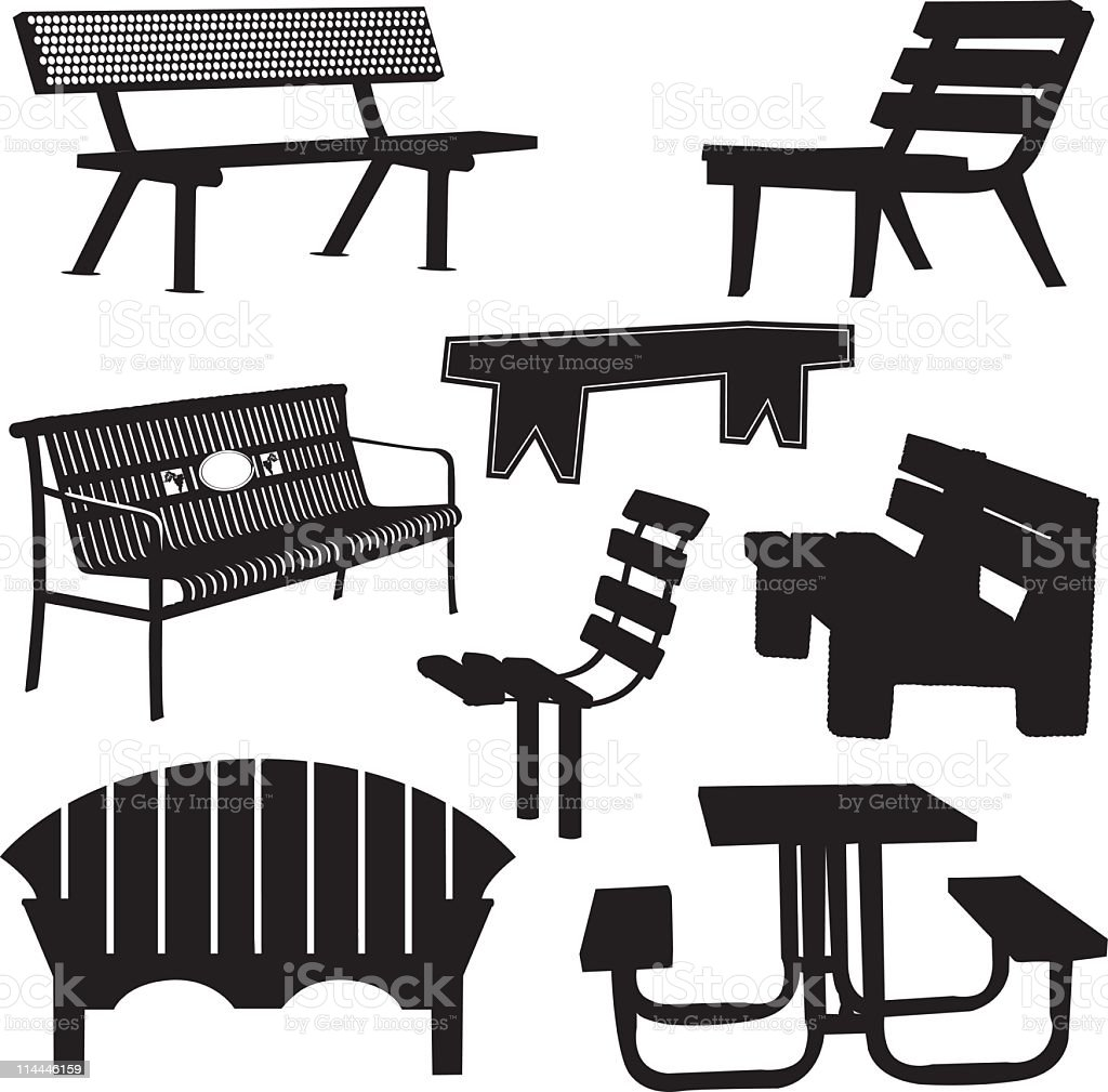 Park and Garden Benches With a Picnic Table Silhouette Collection royalty-free stock vector art