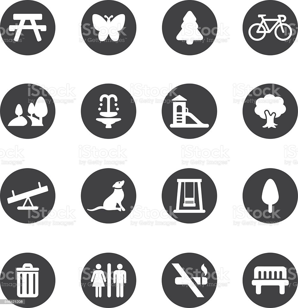 Park and Outdoor Circle Silhouette icons | EPS10 vector art illustration