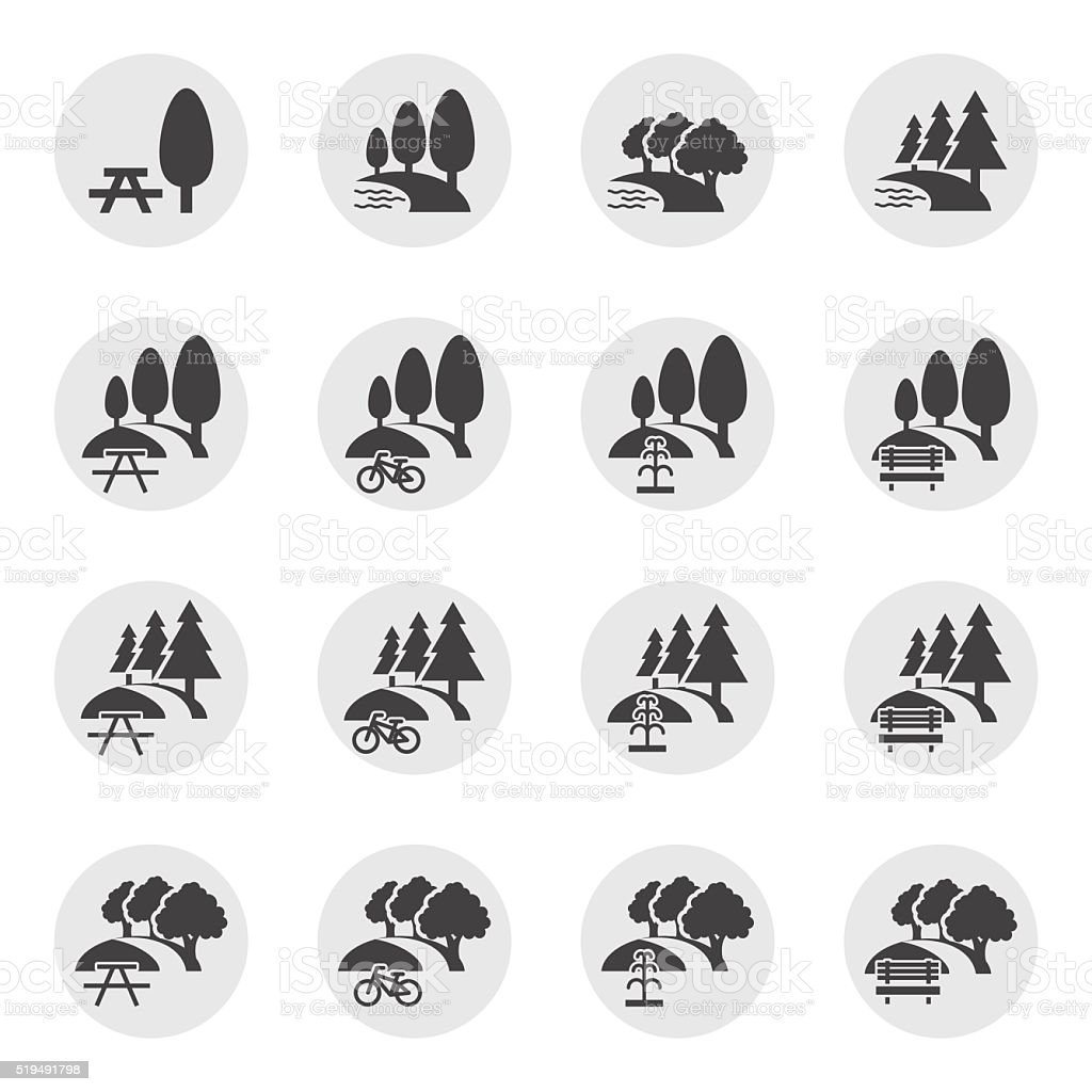 park and outdoor icons vector art illustration
