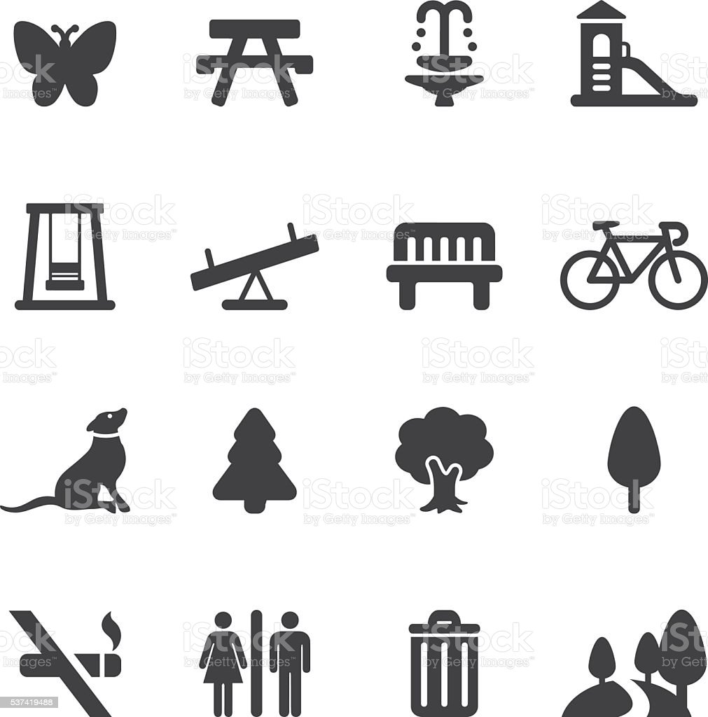 Park and Outdoor Silhouette icons | EPS10 vector art illustration